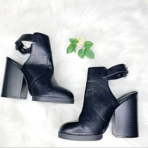Forever 21 | Black Chunky Open Back Booties